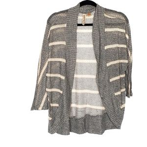 Eyeshadow Open Front Knit Sweater Cardigan Striped